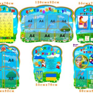 Комплект стендів для початкових класів. Класний куточок, Сиди правильно, Алфавіт, Куточок читача, Календар погоди